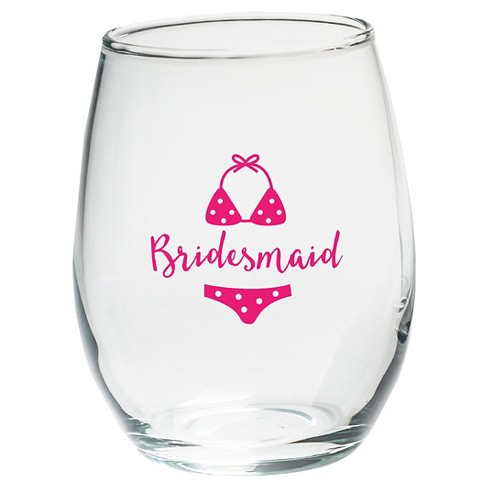 4ct Kate Aspen Bridesmaids Beach Bikini 15 Oz. Stemless Wine Glass - image 1 of 2