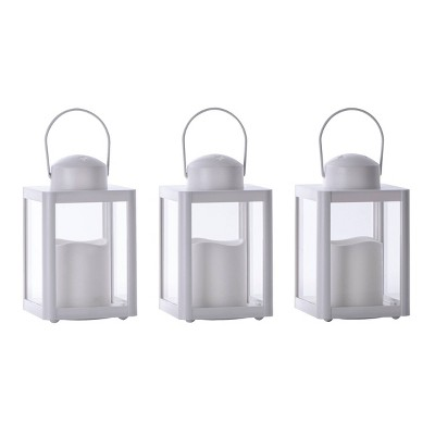 3pk Indoor/Outdoor Battery Operated Lantern White - Sterno Home