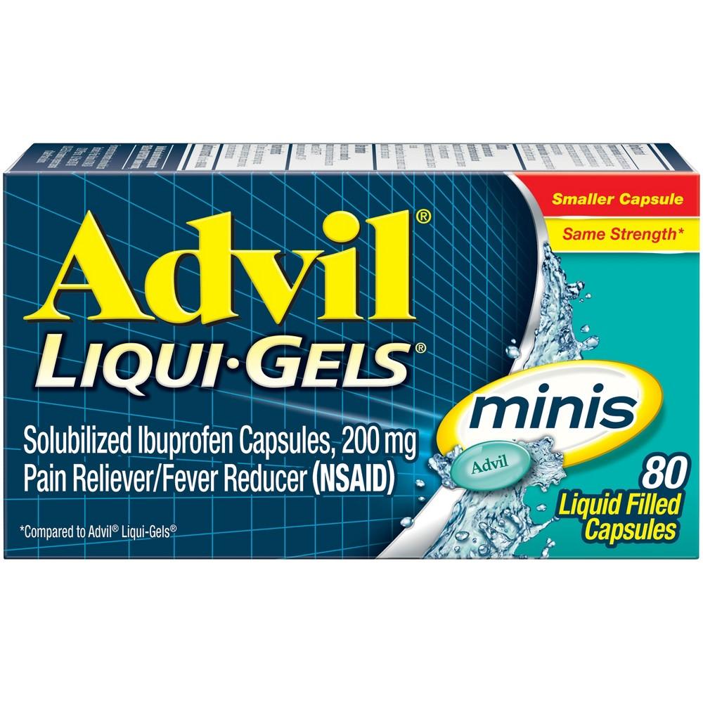 Advil Liqui-Gel Minis Pain Reliever & Fever Reducer Gelcaps - Ibuprofen (Nsaid) - 80ct
