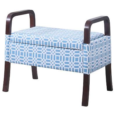 "Wooden Arm Storage Seat 23"" - Sky Blue - Ore International"