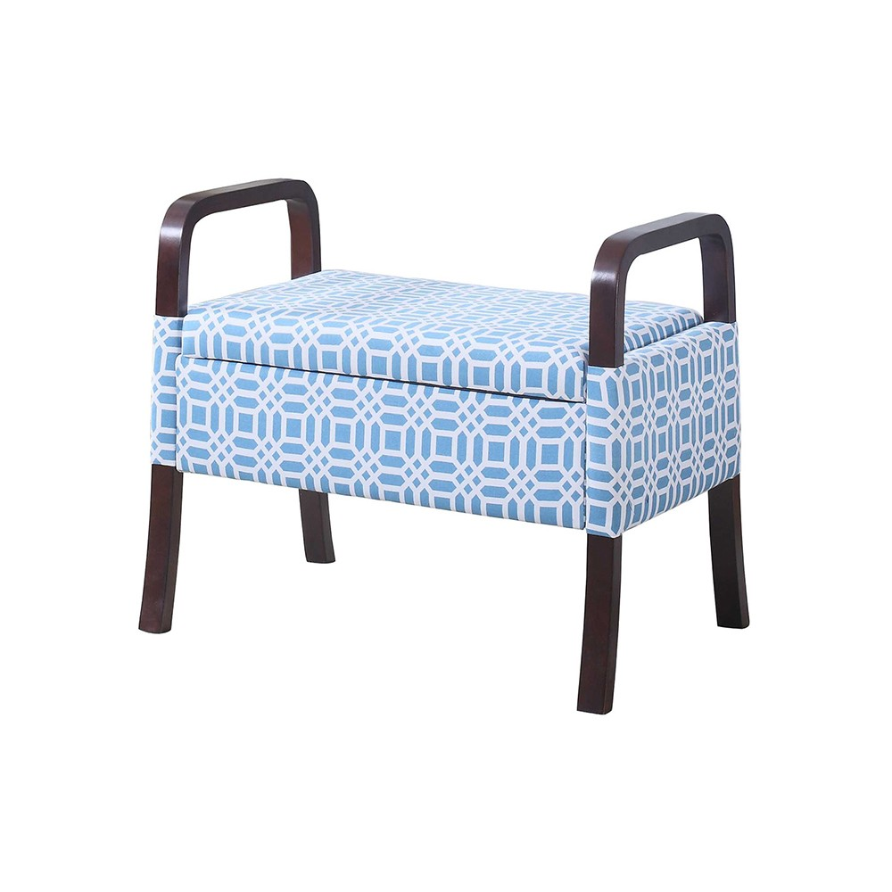 "Image of ""Wooden Arm Storage Seat 23"""" - Sky Blue - Ore International"""