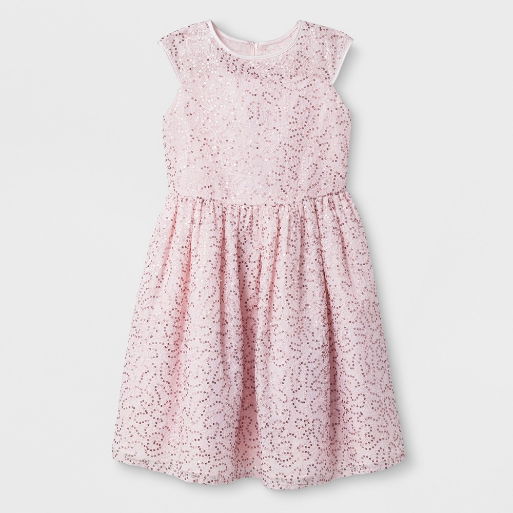 Mia & Mimi Girls' Sleeveless Sequin Dressy Dress - Pink L