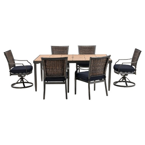 Dover 7pc Rectangle All-Weather Wicker Patio Dining Set - Navy - Hanover - image 1 of 9