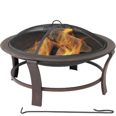 """Sunnydaze Outdoor Portable Camping or Backyard Elevated Round Fire Pit Bowl with Stand, Spark Screen, Wood Grate, and Log Poker - 29"""" - Bronze"""