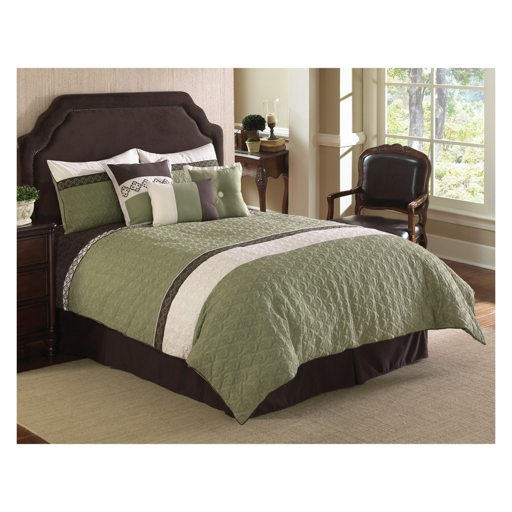 Image of 7pc King Fairmont Comforter Set Green & White - Riverbrook Home, White Green