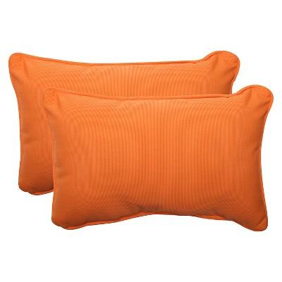 Sunbrella® Canvas Outdoor 2-Piece Lumbar Throw Pillow Set - Orange