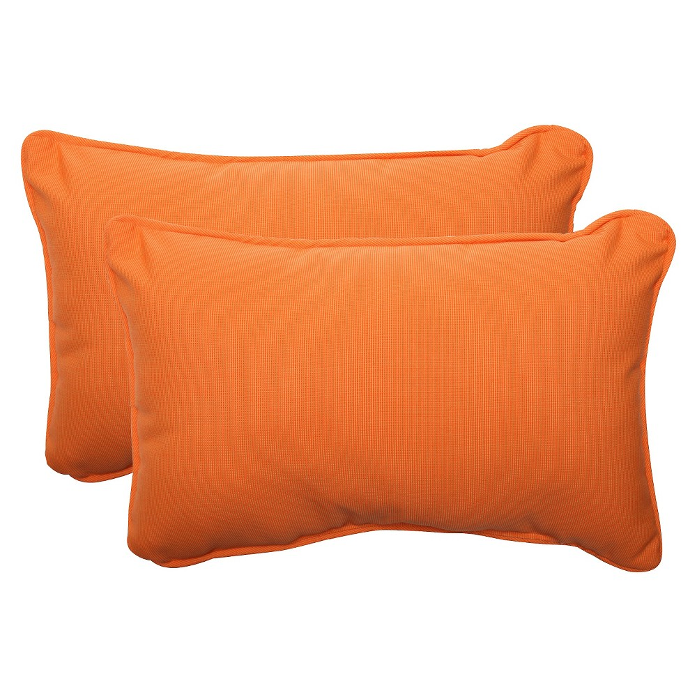 Sunbrella Canvas Outdoor 2-Piece Lumbar Throw Pillow Set - Orange
