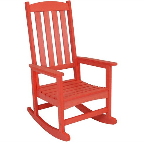 All-Weather Rocking Chair with Faux Wood Design - Single - Salmon - Sunnydaze Decor - image 1 of 4