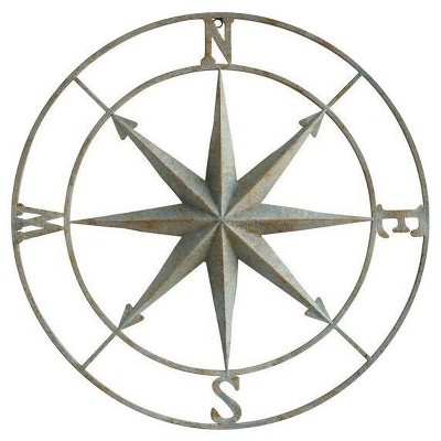 "41"" Iron Compass Wall Plaque Silver - 3R Studios"