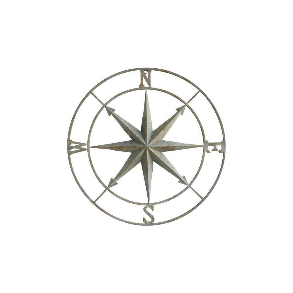 41 Iron Compass Wall Plaque Silver - 3R Studios