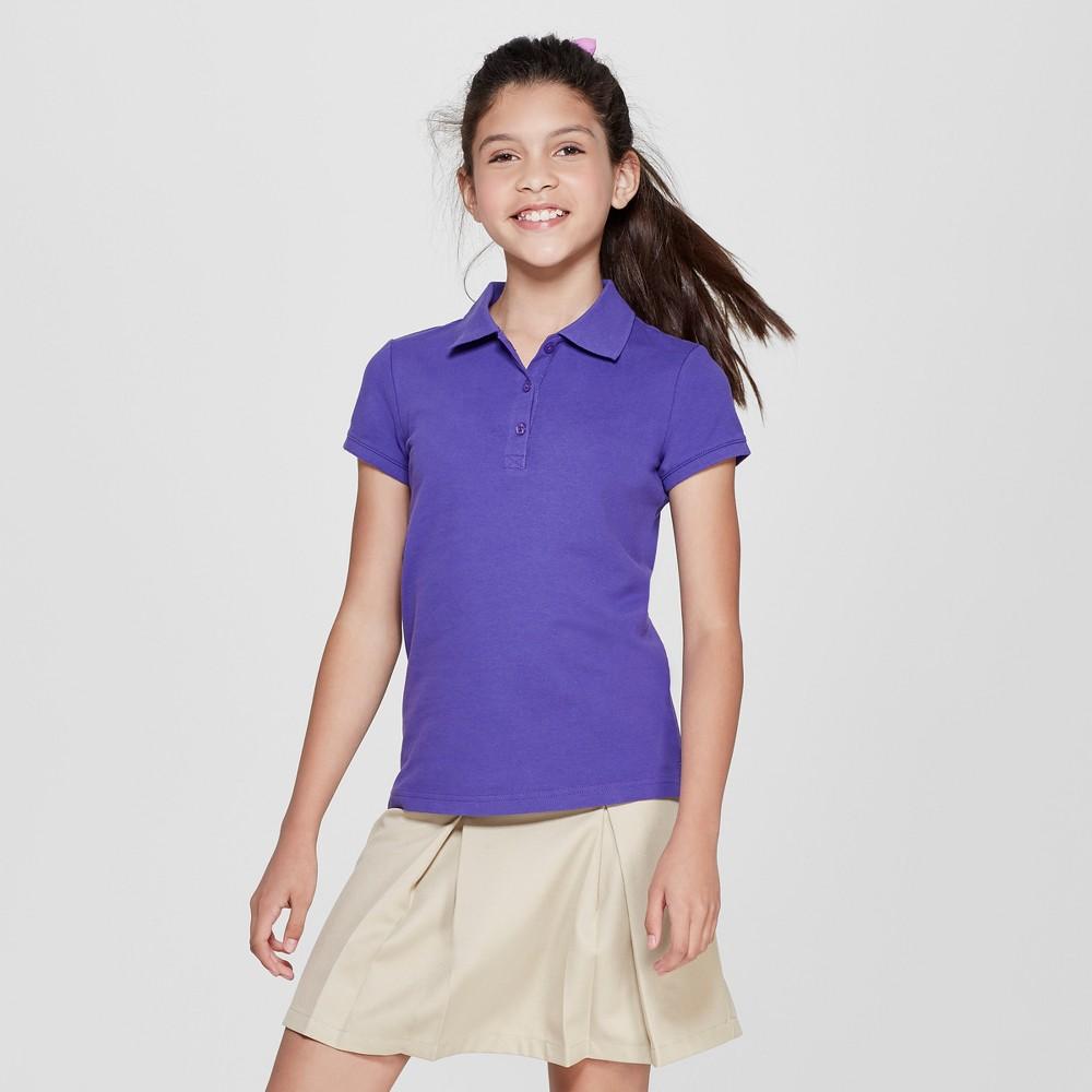 Girls' Short Sleeve Pique Polo Shirt - Cat & Jack Purple L