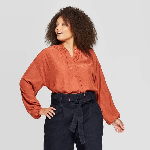 Women's Plus Size Long Sleeve V-Neck Top - A New Day™ Rust - image 1 of 3