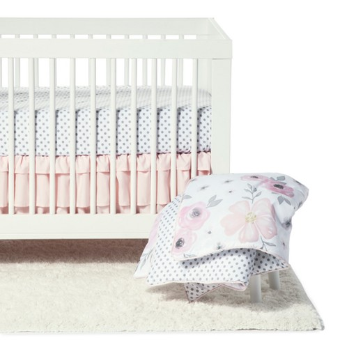 Sweet Jojo Designs Crib Bedding Set Watercolor Fl 11pc Pink Gray