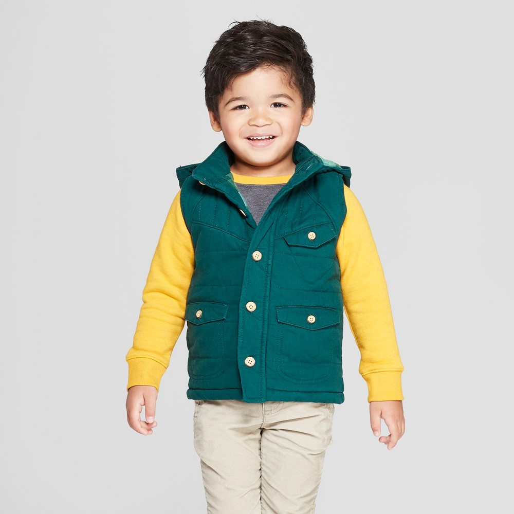 Image of Genuine Kids from OshKosh Toddler Boys' Canvas Vest With Hood - Green 12M, Toddler Boy's