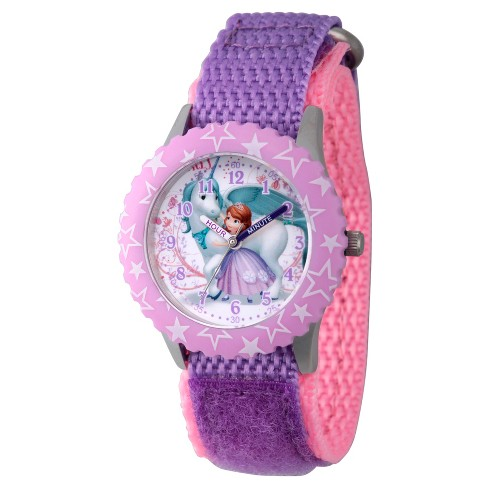 Girls' Disney Princess Sofia Stainless Steel Time Teacher Watch - Purple - image 1 of 1