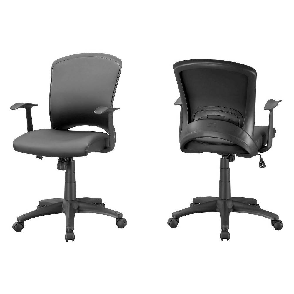 Office Chair Leather Look Multi Position Black - EveryRoom
