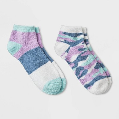 Women's Camo Print Cozy 2pk Low Cut Socks - Blue 4-10
