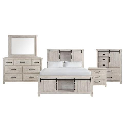 4pc King Jack Platform Storage Bedroom Set White Picket House Furnishings Target