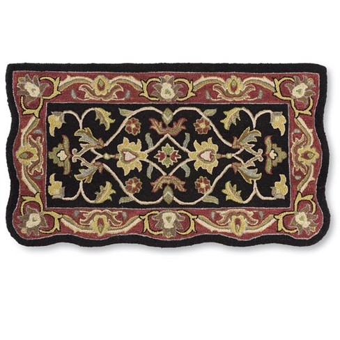 Hand Tufted Fire Resistant Scalloped Wool Hearth Rug 25 X 45 Black Red Plow