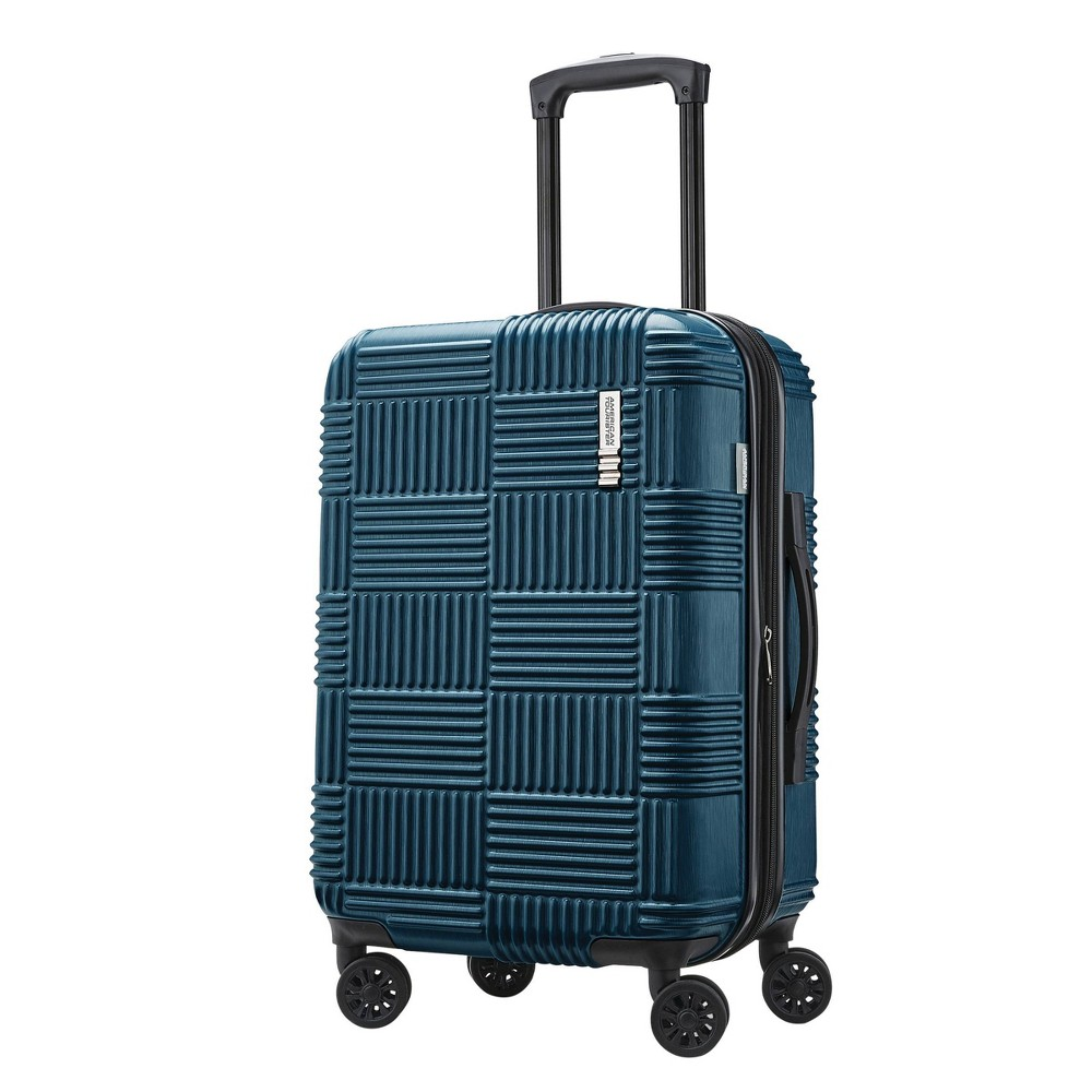 "Image of ""American Tourister 20"""" Checkered Carry On Hardside Suitcase - Teal, Blue"""
