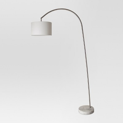 Avenal Shaded Arc with Marble Base Floor Lamp Nickel - Project 62™