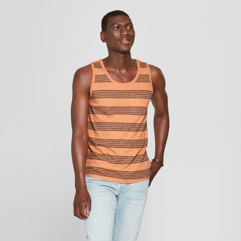 Men's Striped Regular Fit Tank Top - Goodfellow & Co Jovial Orange XL