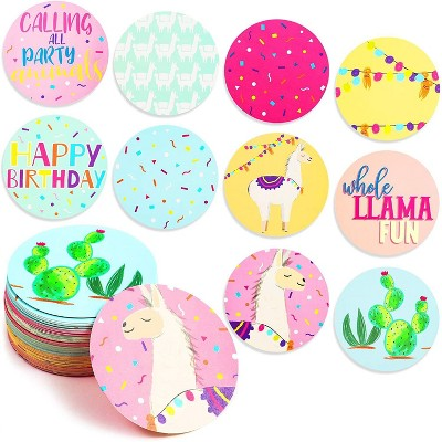 """100-Pack Llama Cactus 3"""" Circle Confetti for Mexican Fiesta Theme Baby Shower, Kids Birthday Decorations, Alpaca Party Favors Supplies, 10 Designs"""