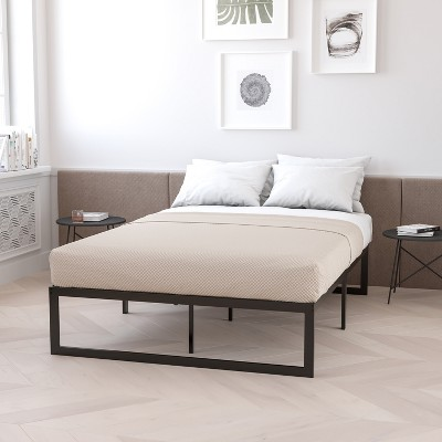 Flash Furniture 14 Inch Metal Platform Bed Frame - No Box Spring Needed with Steel Slat Support and Quick Lock Functionality