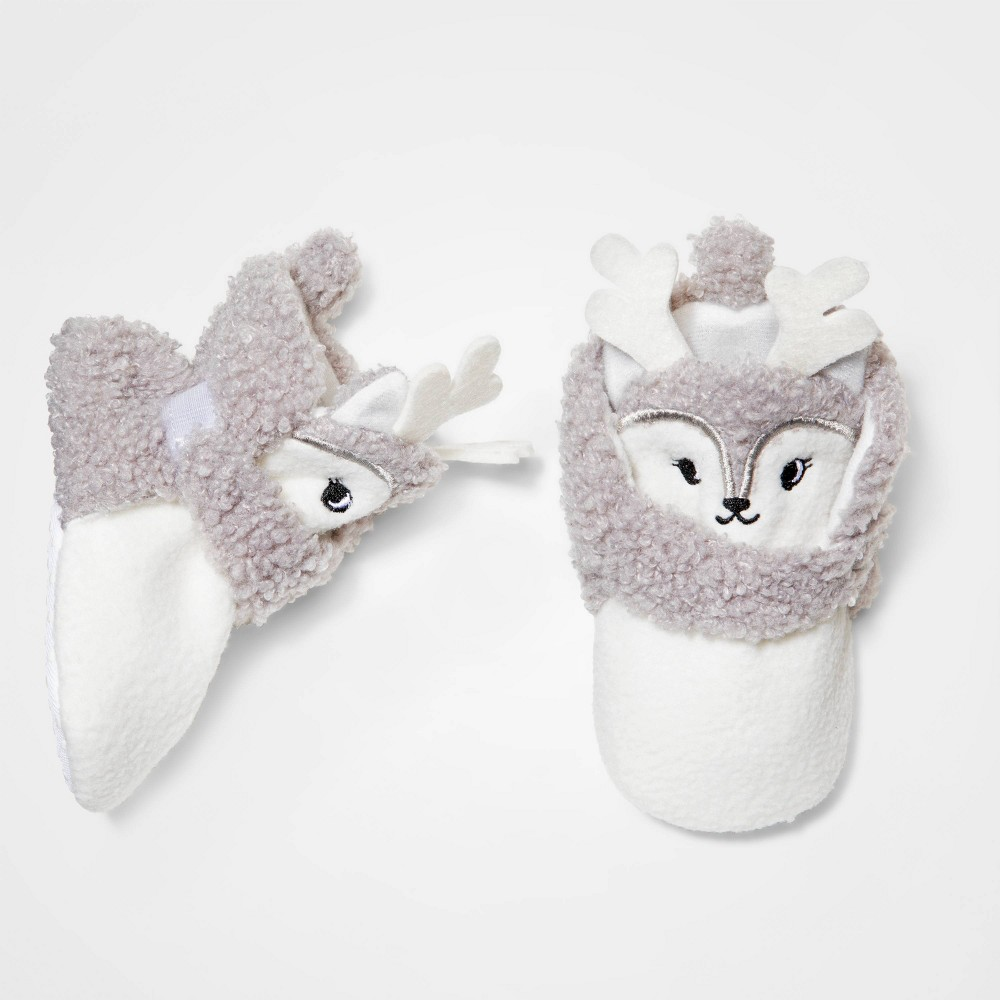 Image of Baby Girls' Fawn Doe Wrap Bootie Slipper - Cat & Jack 0-3M, Girl's, MultiColored