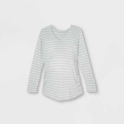 Long Sleeve V-Neck Side Shirred Maternity T-Shirt - Isabel Maternity by Ingrid & Isabel™