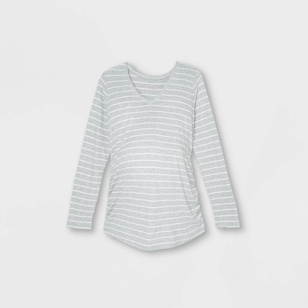 Maternity Striped Long Sleeve V Neck Side Shirred T Shirt Isabel Maternity By Ingrid 38 Isabel 8482 Gray Xl