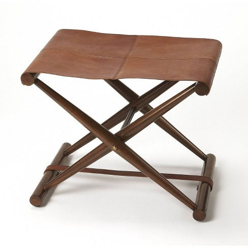 Sutton Leather Folding Stool Brown - Butler Specialty - image 1 of 6