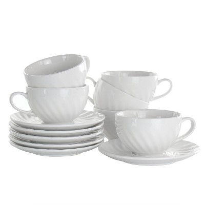6oz 12pc Porcelain Clancy Cup and Saucer Set White - Elama