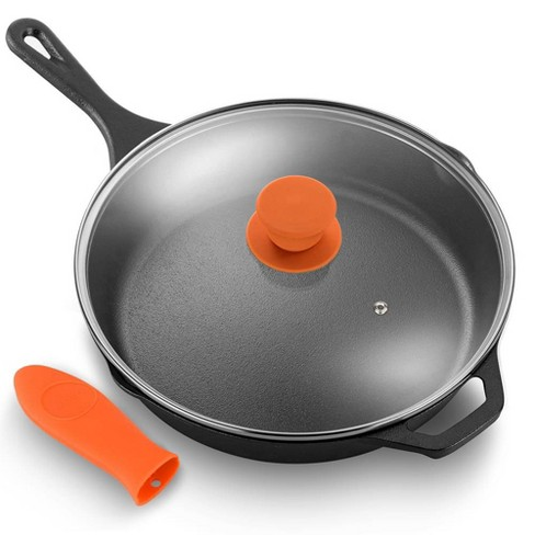 Nutrichef Ncci12 12 Inch Pre Seasoned Nonstick Cast Iron Skillet Frying Pan Kitchen Cookware Set With Tempered Glass Lid And Silicone Handle Cover Target