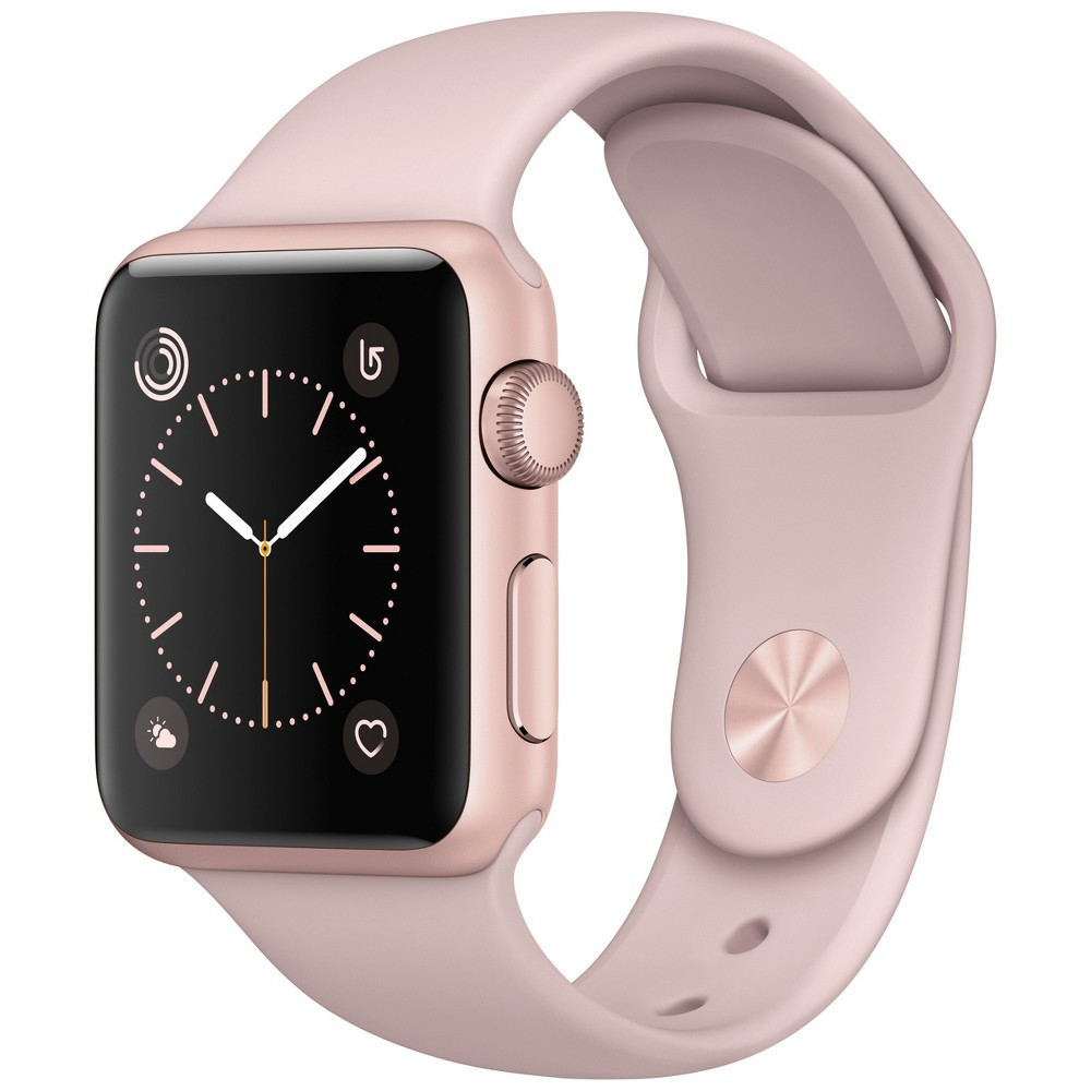 Apple Watch Series 1 42mm Rose Gold Aluminum Case with Pink Sand Sport Band, Black