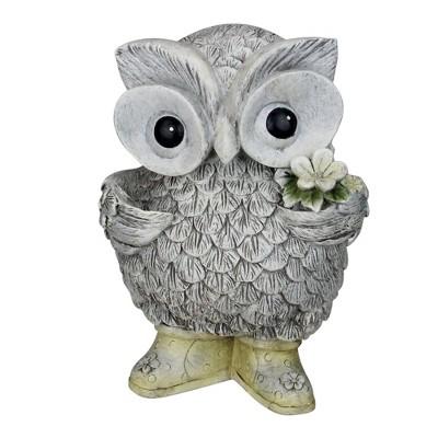 "Roman 9"" Gray and White Outdoor Owl in Rain Boots Garden Statue"