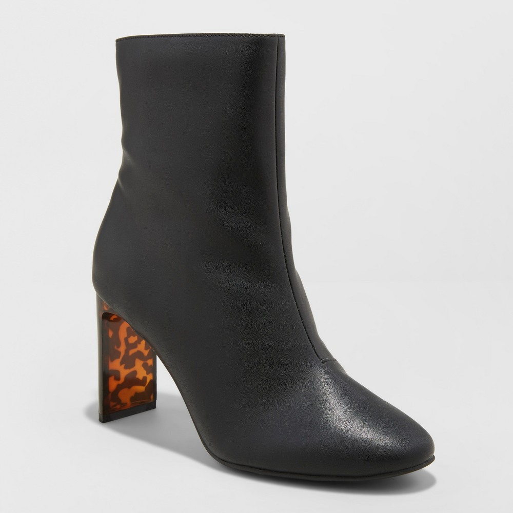 Women's Chelsea Heeled Fashion Boots - A New Day Black 7
