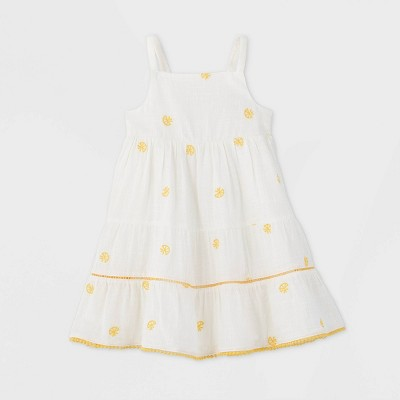 Toddler Girls' Embroidered Dress - Cat & Jack™ Yellow 12M