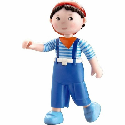 "HABA Little Friends Matze - 4"" Boy Dollhouse Toy Figure with Blue Overalls and Red Cap"