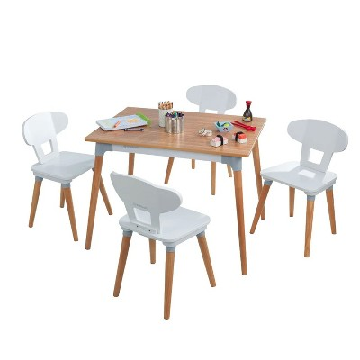 KidKraft 26196 Mid Century Modern Kid Toddler Child Small Desk Puzzle Craft Table and Chair Set with 4 Chairs for Ages 3 to 8 Years Old, Natural/White