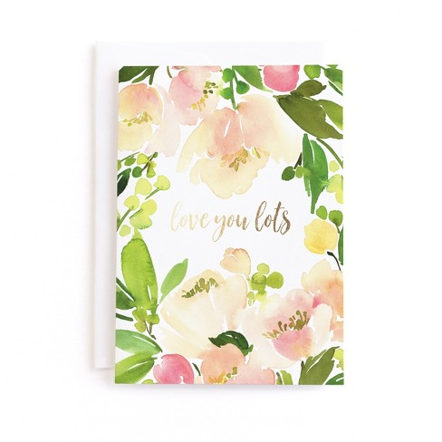 Peach Floral Watercolor Birthday Greeting Card