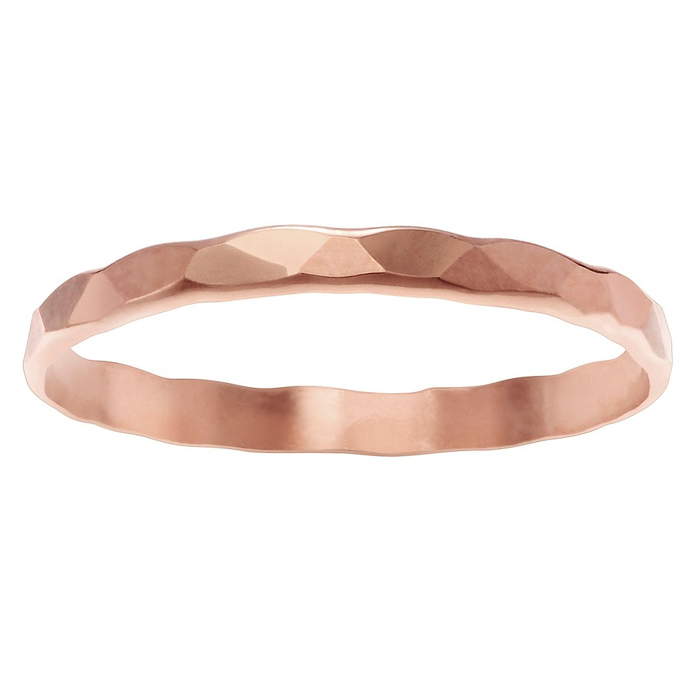 Women's Journee Collection Hammered Band in 14k Goldplated Sterling Silver - Rose Gold, 6, Pink