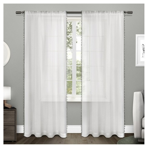 Sheer Pom Pom Curtain Panels Pair Exclusive Home Target