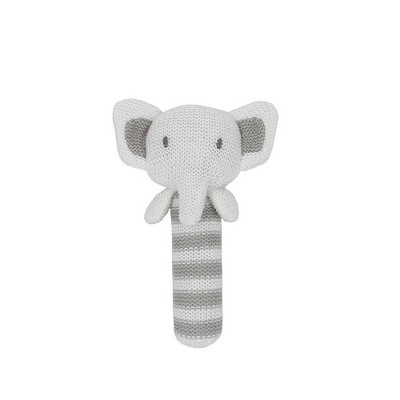 Living Textiles Baby Cotton Knitted Rattle - Eli Elephant