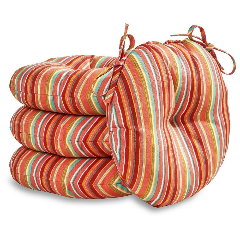 "Image of ""4pk 18"""" Watermelon Stripe Outdoor Bistro Chair Cushions - Kensington Garden"""