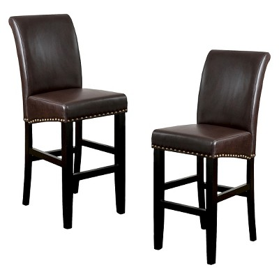 "Lisette Leather 30"" Barstool Set 2ct - Christopher Knight Home"
