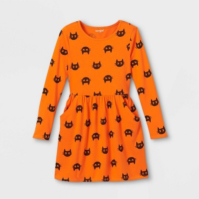 Girls' Printed Knit Long Sleeve Dress - Cat & Jack™
