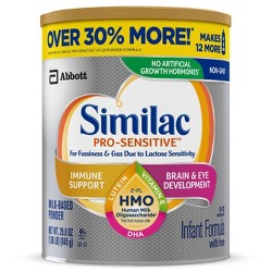 Similac Pro-Sensitive Non-GMO Infant Formula with Iron Powder - 29.8oz