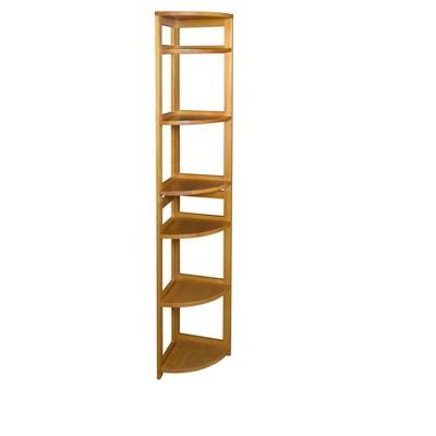 Flip Flop 67'' High Corner Folding Bookcase Medium Oak - Niche