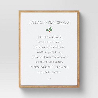 """11"""" x 14"""" Jolly Old St. Nick Framed Wall Canvas Natural White - Threshold™"""